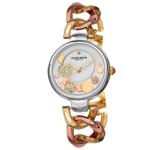 Akribos XXIV Women's AK678TRI Quartz Diamond MOP Dial Twist Chain Link Watch