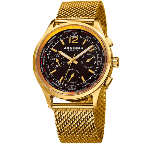 Akribos XXIV Men's AK716 Multifunction Day Date Stainless Steel Mesh Watch AK716YGB