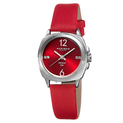 Akribos XXV AK742RD Women's Swiss Quartz Diamond-Accented Satin Red Strap Watch