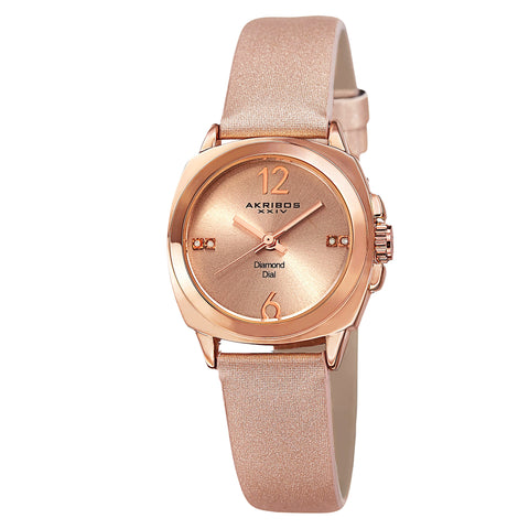 Akirbos XXIV AK742RG Women's Swiss Quartz Diamond-Accented Satin Rose-Tone Strap Watch