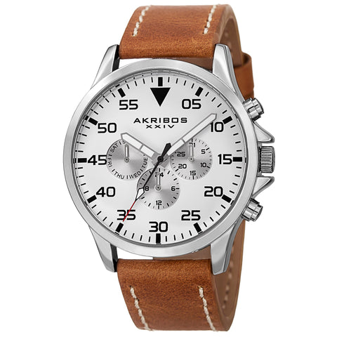 Akribos XXIV AK773SSBR Swiss Multifunction Day Date Leather Strap Watch