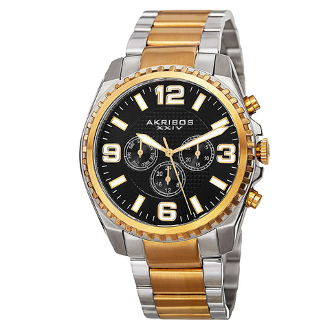 Akribos XXIV Men's Swiss Quartz Multifunction Dual Time Stainless Steel Two-Tone Bracelet Watch AK774TTG