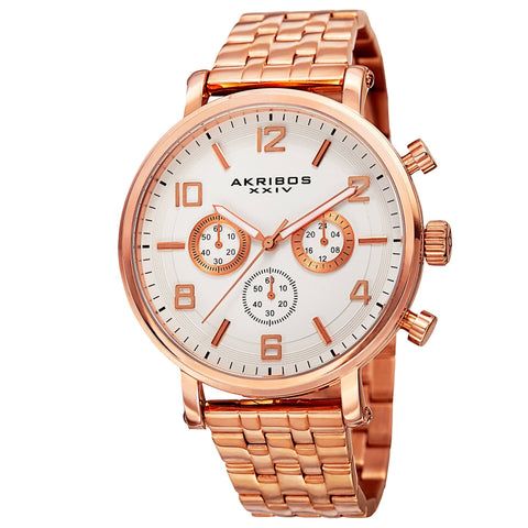 Akribos XXIV Men's AK800 Quartz Chronograph White Dial Stainless Steel BraceletWatch AK800RG