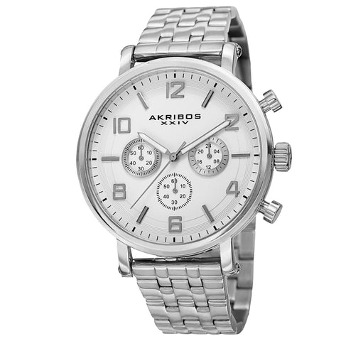 Akribos XXIV Men's AK800 Quartz Chronograph White Dial Stainless Steel BraceletWatch AK800SSW