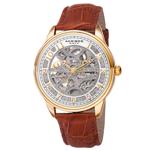 Akirbos XXIV AK807YG Men's Automatic Skeletal Dial Arabic Numeral Markers Leather Gold-Tone Strap Watch