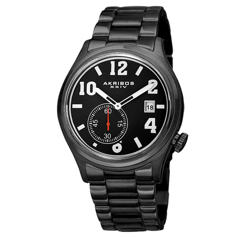 Akirbos XXIV AK830BK Men's Quartz Multifunction Stainless Steel Black Bracelet Watch