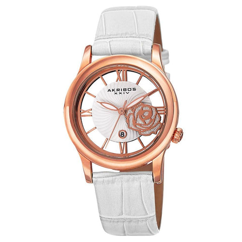 Akribos XXIV Women's Floral Japanese Quartz Leather Strap Watch AK837WTR