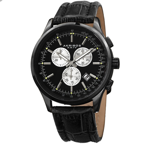 Akirbos XXIV AK863BK Men's Swiss Quartz Chronograph Leather Black Strap Watch