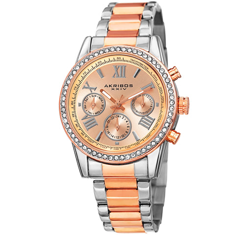 Akirbos XXIV AK872TTRG Ladies Swiss Quartz Swarovski Crystals Dual-Time Stainless Steel Two-Tone Bracelet Watch