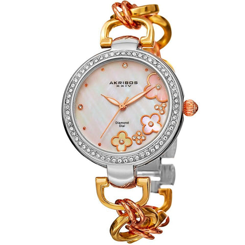 Akribos XXIV Women's Genuine Diamond Floral Dial Twist Chain Bracelet Watch AK874TRI