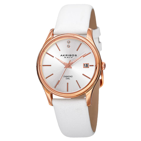 Akirbos XXIV AK879WTR Women's Quartz Diamond Leather White Strap Watch
