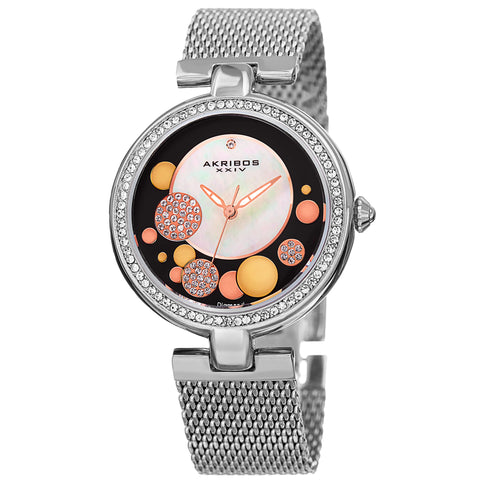Akirbos XXIV AK881SSB Women's Quartz Diamond Stainless Steel Mesh Silver-Tone Bracelet Watch