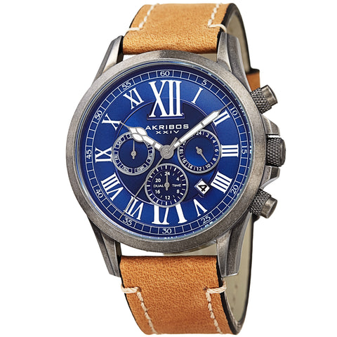 Akirbos XXIV AK897SSBU Men's Quartz Dual-time Multifunctional Leather Silver-Tone Strap Watch