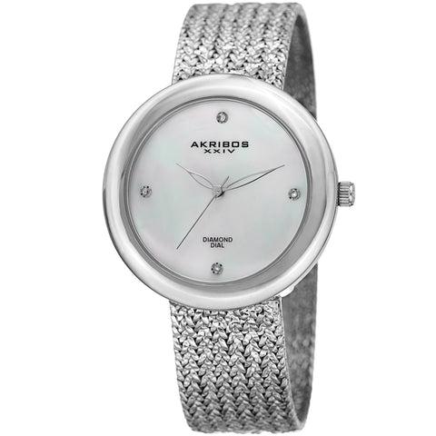 Akribos XXIV AK903SS Diamond Hour Marker Gold Tone Steel Mesh Watch