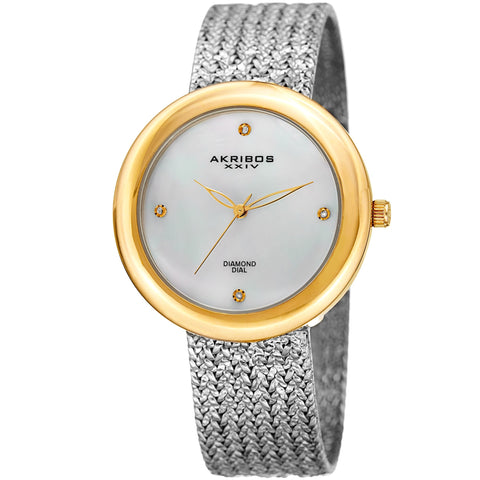Akribos XXIV AK903TTG Diamond Hour Marker Gold Tone Steel Mesh Watch