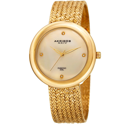 Akribos XXIV AK903YG Diamond Hour Marker Gold Tone Steel Mesh Watch