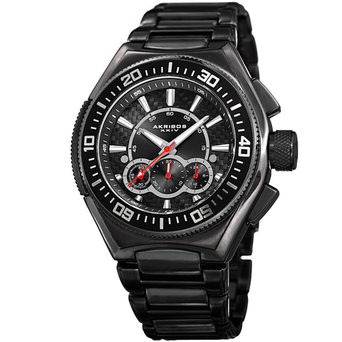 Akirbos XXIV AK910BK Men's Quartz Chronograph Black Bracelet Watch