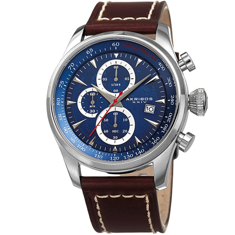 Akirbos XXIV AK915BU Men's Quartz Chronograph Blue Leather Strap Watch