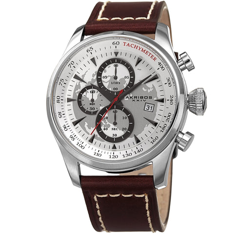 Akribos XXIV Men's AK915SS Quartz Sunray Dial on Genuine Leather Strap