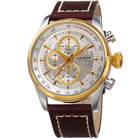 Akribos XXIV Men's AK915YG Quartz Sunray Dial on Genuine Leather Strap