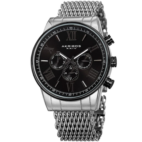 Akribos XXIV Men's Swiss Quartz Multifunction Mesh Bracelet Watch AK919SSBK