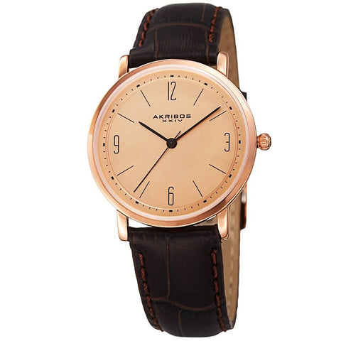 Akribos XXIV Women's Quartz Easy to Read Leather Brown Strap Watch AK922BRRG