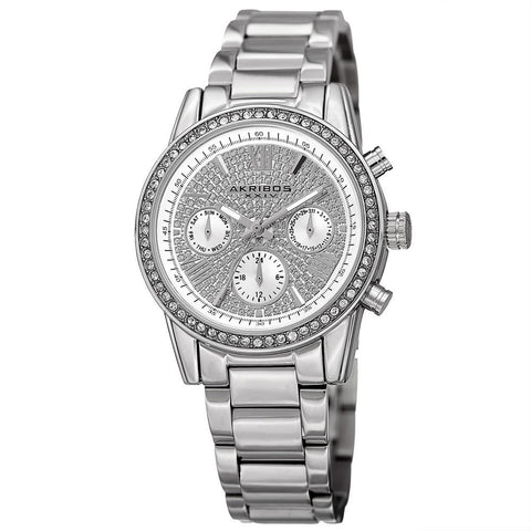 Akribos XXIV Women's Swiss Quartz Multifunction Swarovski Crystal Bracelet Watch AK926SS