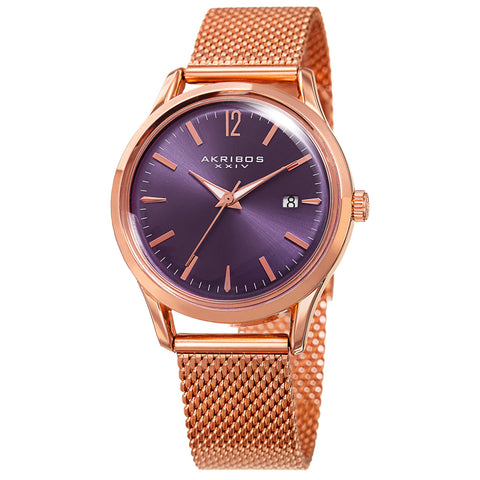 Akribos XXIV Women's Matte Dial on Mesh Bracelet Watch AK930PU