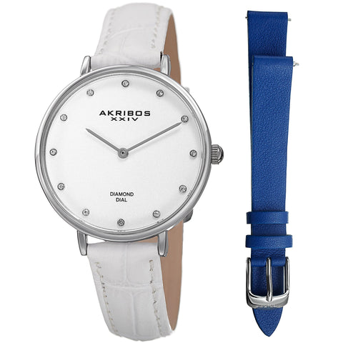 Women's Akribos XXIV AK933SS-BX 12 Diamond Marker Genuine Leather Strap Watch