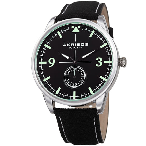 Akribos XXIV AK938BK Small Seconds Genuine Leather and Canvas Strap Watch