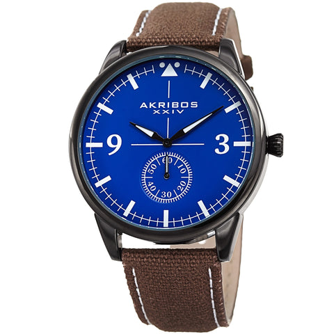 Akribos XXIV AK938BR Small Seconds Genuine Leather and Canvas Strap Watch