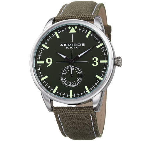 Akribos XXIV AK938GN Small Seconds Genuine Leather and Canvas Strap Watch