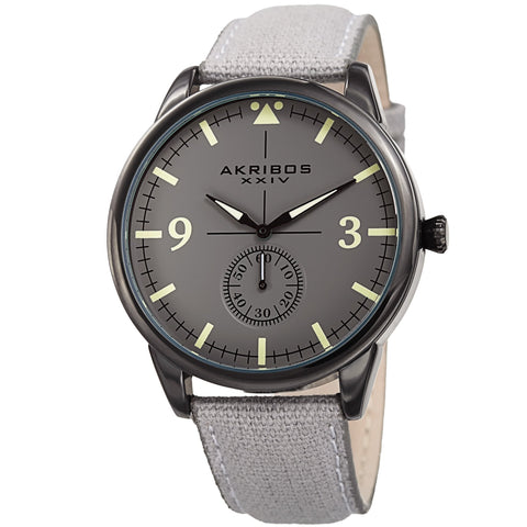 Akribos XXIV AK938GY Small Seconds Genuine Leather and Canvas Strap Watch
