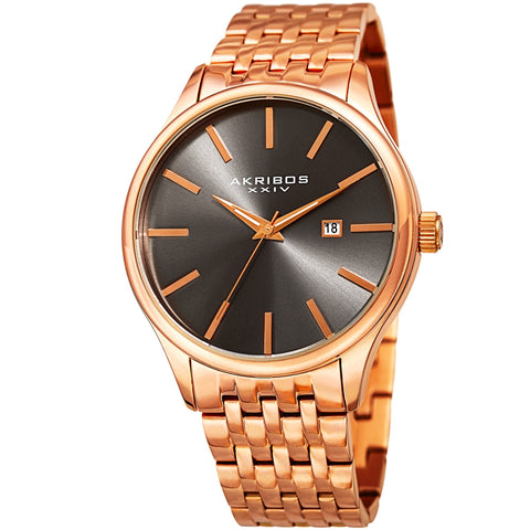 Akribos XXIV Men's AK941 Sunburst Dial Luminous Hands Date Stainless Steel Braclet Watch AK941RG
