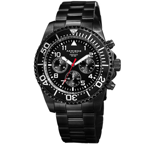 Akribos XXIV Men's Diver Chronograph Stainless Steel Bracelet Watch AK950BK
