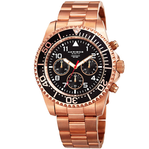 Akribos XXIV Men's Diver Chronograph Stainless Steel Bracelet Watch AK950RGBK
