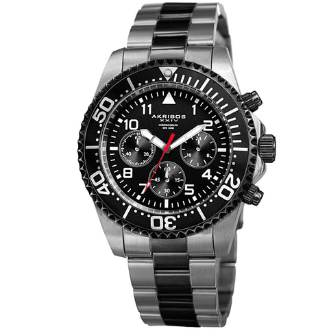 Akribos XXIV Men's Diver Chronograph Stainless Steel Bracelet Watch AK950TTB