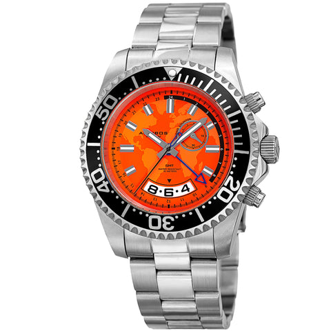 Akribos XXIV Men's AK955SSOR Multifunction Map Print Stainless Steel Watch