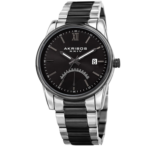 Akribos XXIV Men's AK962 24 Hour Indicator Retrograde Dial Date Polished Stainless Steel Watch AK962TTB