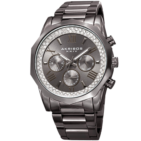 Akribos XXIV Men's Mulifunction Diamond Dial Bracelet Watch AK999GN