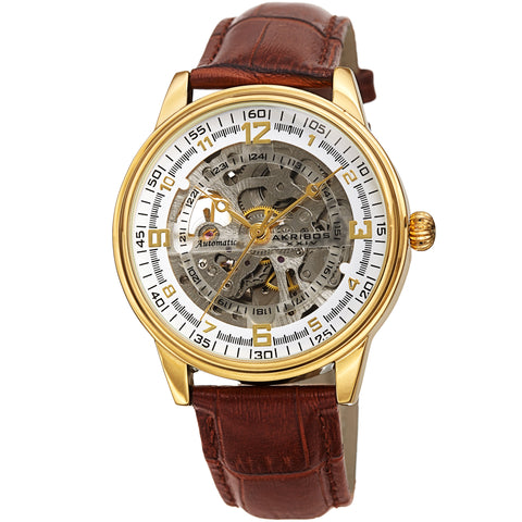 Akribos XXIV AKS191073YG Men's Skeletal Automatic Leather Strap Watch