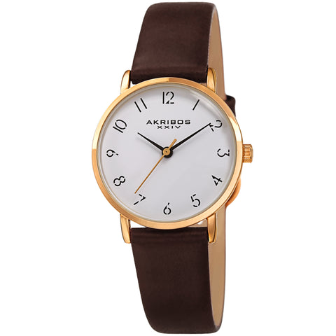 Akribos XXIV AKS191087BR Ladies Classic Petite Pencil Style Leather Strap Watch