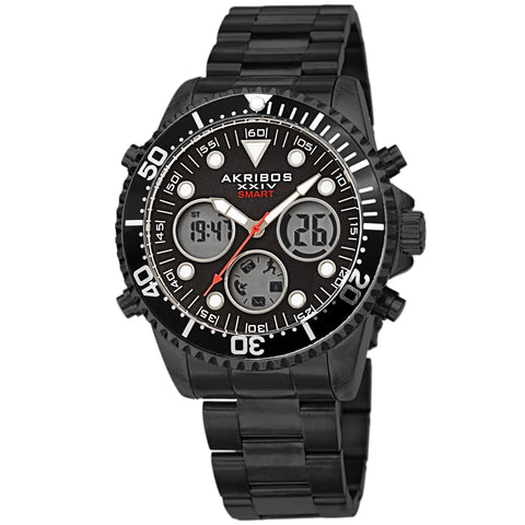 Akribos XXIV AKS191094BK Men's Smart Multifunction LCD Display Diver Watch