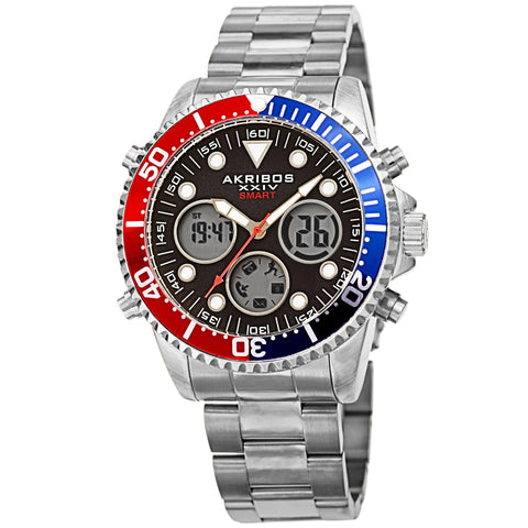 Akribos XXIV AKS191094SSBK Men's Smart Multifunction LCD Display Diver Watch