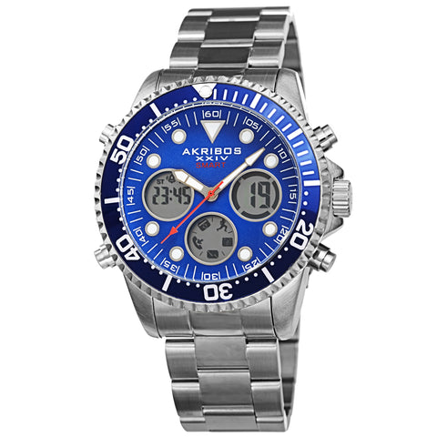 Akribos XXIV AKS191094SSBU Men's Smart Multifunction LCD Display Diver Watch