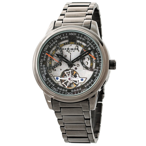 Akribos XXIV AKS191101GN Men's Skeleton Automatic Bracelet Watch