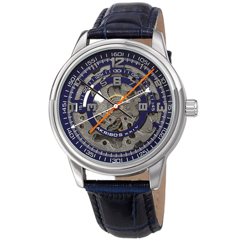 Akribos XXIV AKS191102BU Men's Skeleton Automatic Strap Watch