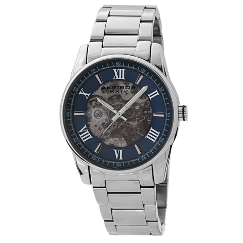 Akribos XXIV AKS191103SSBU Men's Skeleton Automatic Bracelet Watch