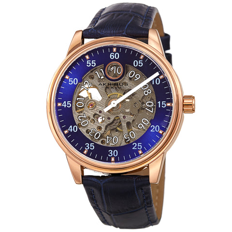 Akribos XXIV AKS191111RGBU Men's Automatic Skeleton Leather Strap Watch