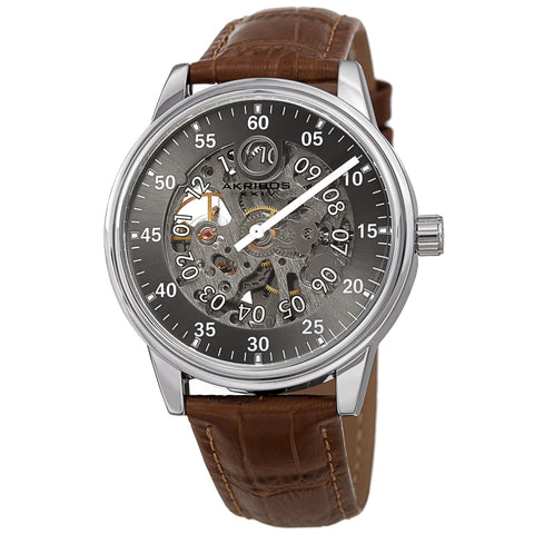 Akribos XXIV AKS191111SSBR Men's Automatic Skeleton Leather Strap Watch